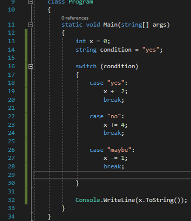 Small switch statement in c#
